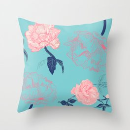 Vintage roses and peonies in bohemian style Throw Pillow