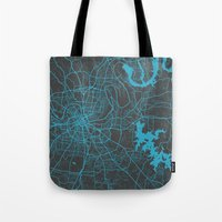 nashville Tote Bags featuring Nashville by Map Map Maps
