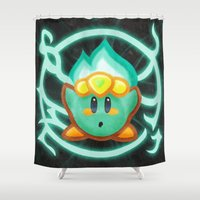 kirby Shower Curtains featuring Kirby Plasma by likelikes