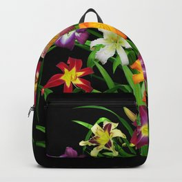 Display of daylilies II on blck Backpack