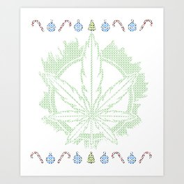Weed Ugly Christmas - Be Hippie Always Art Print