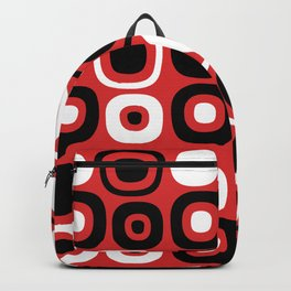 Mid Century Modern Garden Path Pattern 378 Red and Black Backpack