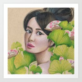 Gingko Girl Art Print