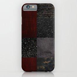 Patchwork (Burgundy + Black) iPhone Case
