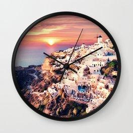 Santorini Sunset View Wall Clock