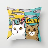 nori Throw Pillows featuring Nori&Tama by sol_pro