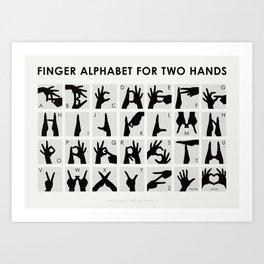 Finger Alphabet for Two Hands Art Print