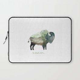Buffalo Bison / Roam Wanderlust Adventure Travel / Rustic Woodland / Nursery / Gift / Watercolor Laptop Sleeve