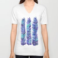 indigo V-neck T-shirts featuring Indigo Seaweed by Cat Coquillette