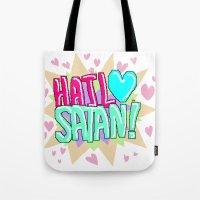 satan Tote Bags featuring HAIL ♥ SATAN! by Adrian Trenteseaux