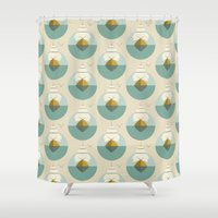 sailboat Shower Curtains featuring Sailboat by FLATOWL