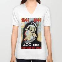 chile V-neck T-shirts featuring CHILE by Kathead Tarot/David Rivera