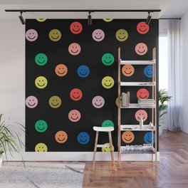 Smiley faces black happy simple rainbow colors pattern smile face kids nursery boys girls decor Wall Mural