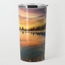 Lake Mountains and Sunset Travel Mug