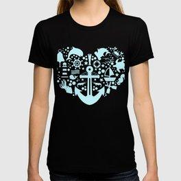 A Nice Heart Anchor Design For Sailors Marine Captain T-shirt Design Cruise Harbor Coast Guard T-shirt