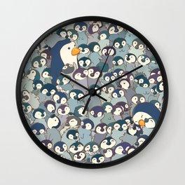 Baby Penguin Pattern Wall Clock