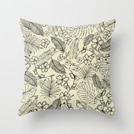 Tropical doodle Throw Pillow