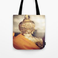 buddhism Tote Bags featuring Buddha the other side  by Maria Heyens