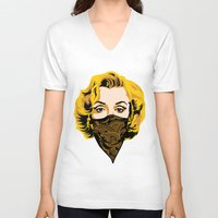 gangster V-neck T-shirts featuring Gangster Lady by UrbanCandy