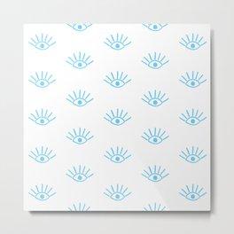 Light Blue Evil Eye Pattern Metal Print