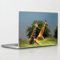 giraffes Laptop & iPad Skins featuring Giraffes by Julie Hoddinott