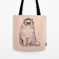 persian Tote Bags featuring Hipster Persian Cat by Huebucket