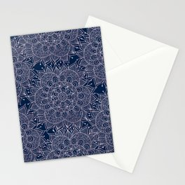 Modern navy blue blush pink watercolor floral mandala Stationery Cards