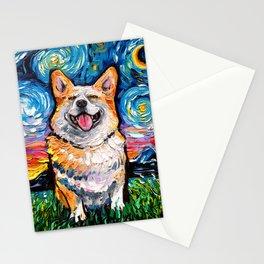 Smiling Corgi Night Stationery Cards