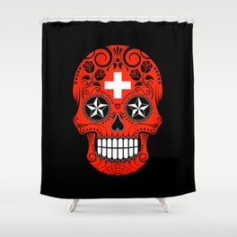 Sugar Skull with Roses and Flag of Switzerland Shower Curtain