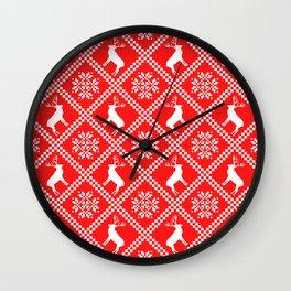 Nordic Christmas Reindeer Holiday Snowflake Patterns Wall Clock