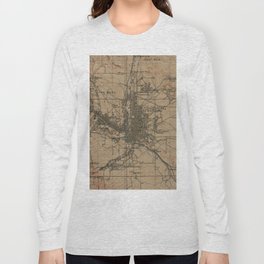 Vintage Map of Colorado Springs CO (1907) Long Sleeve T-shirt