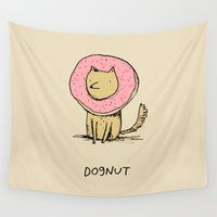 doughnut Wall Tapestries featuring Dognut by Sophie Corrigan