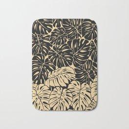 Black and gold palm Bath Mat