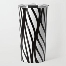 Modern black white abstract geometrical swirls Travel Mug