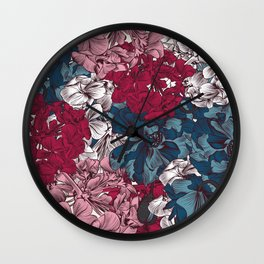 Beautiful floral design with hand drawn petunias Wall Clock