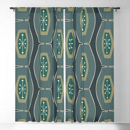 Midcentury Funky Chain Pattern Seaweed Blackout Curtain