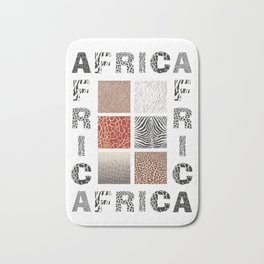 Africa - background with text and texture wild animal Bath Mat