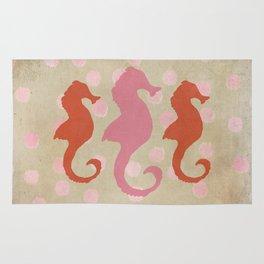 Seahorse Trio and Polka Dots Pinky Coral Rug