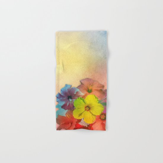 Colorful Hibiscus Bouquet Hand & Bath Towel