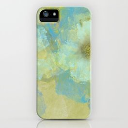 Gold and Blue Flower Garden Abstract iPhone Case