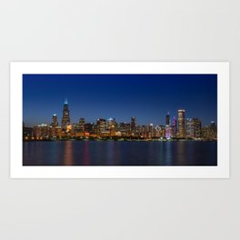 Beautiful Chicago Skyline at Night Art Print