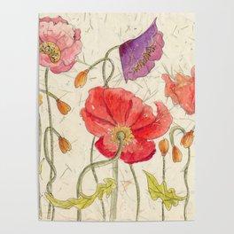 Watercolor Poppy Painting,Poppy Batik, Watercolor Batik,Poppy Watercolor, Wall Art, Floral Art, Poster