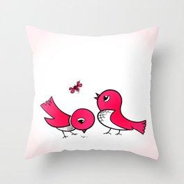 Cute little birds Throw Pillow