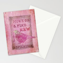 Move on pink Inspirational Typography and Bird Collage Stationery Cards