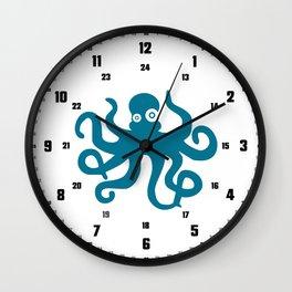childrens clock blue octopus pirate Wall Clock