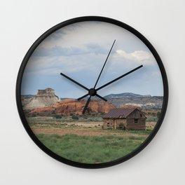 Cabin in the Desert Wall Clock