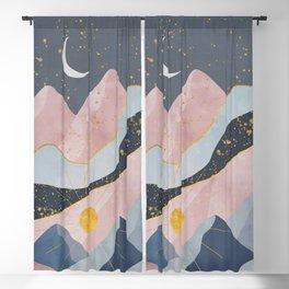 Enchanting Crescent Moon Pink Mountain Landscape Art Blackout Curtain