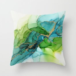 Green Blue Gold Abstract Ink Painting Throw Pillow