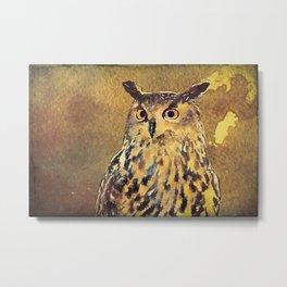 European Eagle Owl Watercolor Art Metal Print