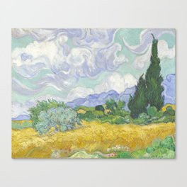 A Wheatfield with Cypresses by Vincent van Gogh Canvas Print